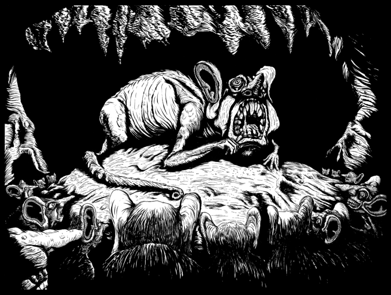 """""""The Rat King"""" 18x24in sumi ink on watercolor paper"""