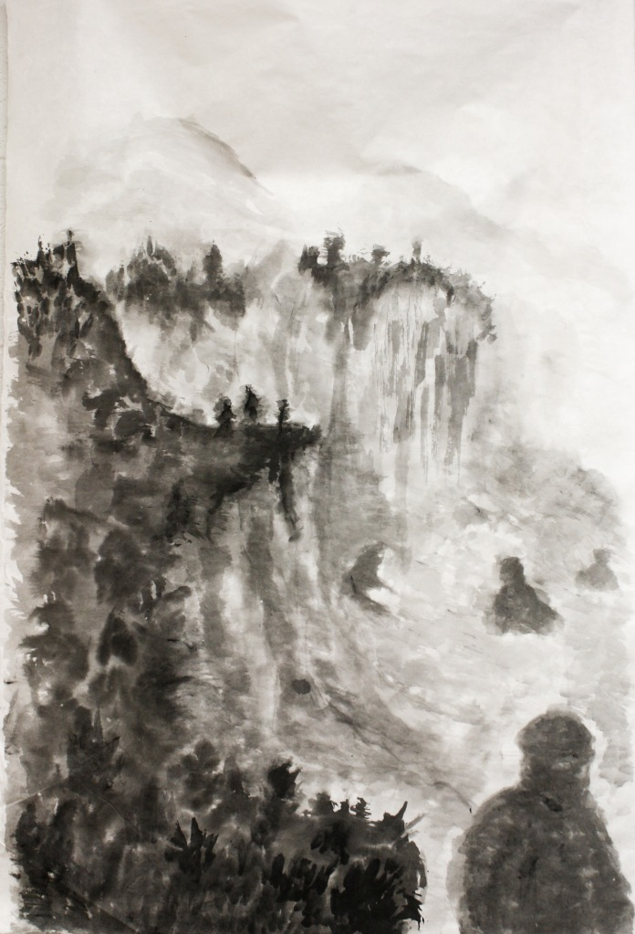 Mt. Kyojin 24in x 30in Ink wash on Japanese paper