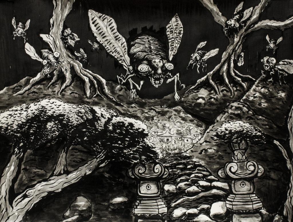 Semi Forest 18in x24in Sumi Ink