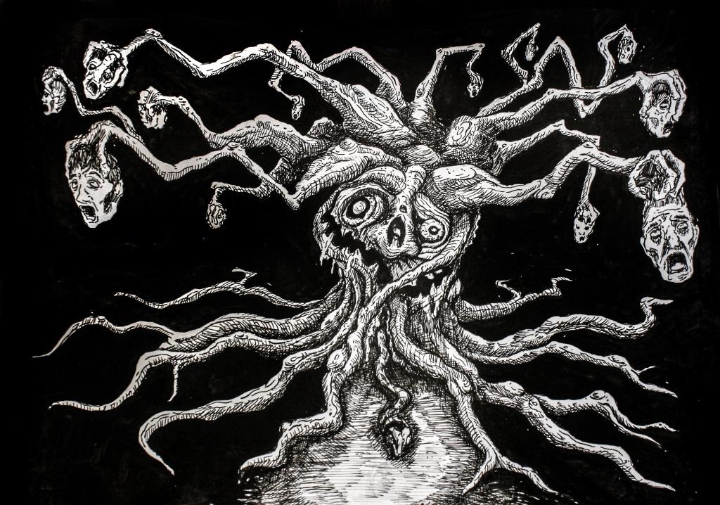 Man-eating Tree 7inx11in Ink on bristol