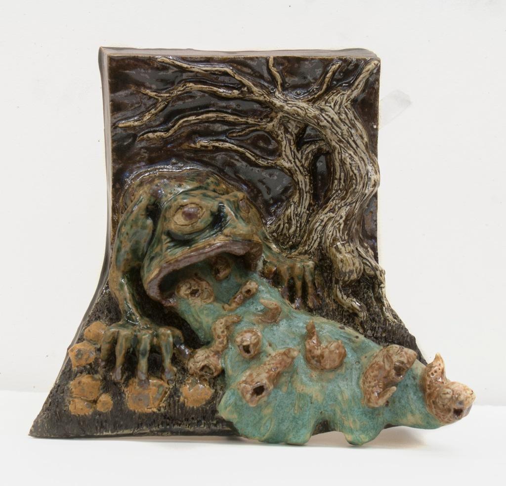 """""""Kaeru River"""" 10in x 8 in Ceramic wall piece"""