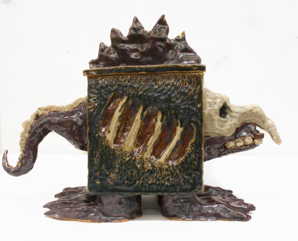 """""""FishBox"""" 12in x 7in ceramic glazed"""