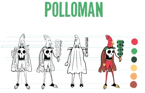 Polloman, formely Emanuel, is a cowardly boy whose must learn to become brave as the savior of the world of Mezzico.